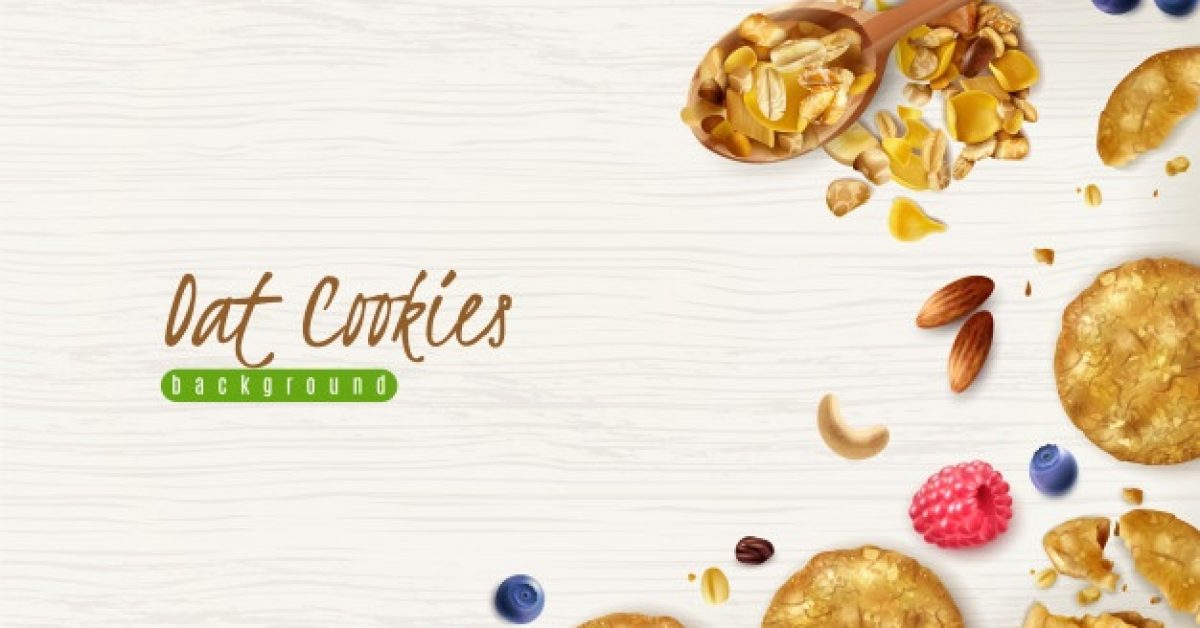 oatmeal-cookies-realistic-background-with-scattered-oat-flakes-grains-fresh-berries-illustration_1284-28755
